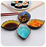 HapiLeap Hand-crafted Beautiful Crackle Glaze Sauce Dishes, all Kinds of Condiment Dishes Set of 4