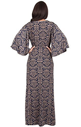KOH KOH® Femmes Robe Longue Cocktail Col V Manches Kimono Bleu Marine