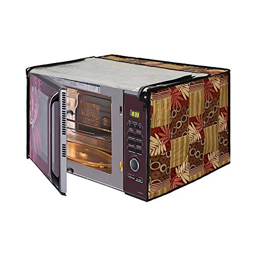 Glassiano Abstract Beige Printed Microwave Oven Cover for IFB 17 Litre Solo (17PM MEC 1, White)