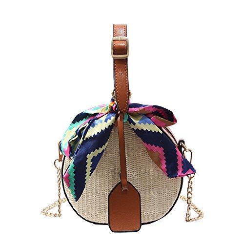 GAOQQ Stroh-Beutel-Weibliche Crossbody-Gewebte Tasche Sommer-Freizeit-Handtasche Kleine Runde Einzelne Schulter,Brown -