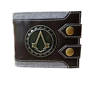 Men's Wallet for Assassin Creed Fans Design Bifold Wallet Short PU Leather Game Small Wallet Credit Card Holder