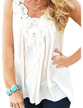 Mujer Sin Mangas V-Cuello Tops Costura De Encaje Puro Colorido Camisa Blanco XL