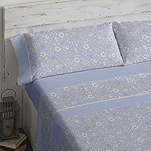 Burrito Blanco - Juego de sábanas 462 Azul para cama de 135x190/200 cm