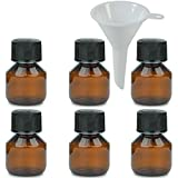 Viva-Haushaltswaren–6X Marrone Laboratorio Bottiglia 50ML in Plastica (Pet), farmacia bottiglia, veral bottiglia con imbuto
