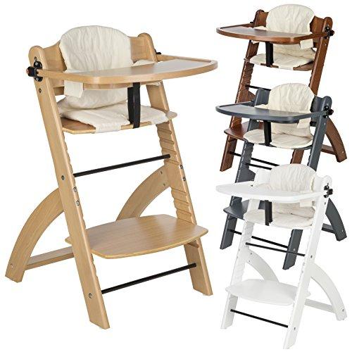 """BOMI® Kinderhochstuhl inkl. Tisch, 5-Punkt-Gurt, Sitzverkleinerer und Sicherheitsbügel - Mitwachsender Hochstuhl aus Holz - ab 6 Monate - Modell """"Lotta"""