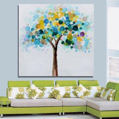 Wand Kunst Dekoration Moderne Abstrakte Art-Deco-Reine Hand Gezeichnet Floral Ölgemälde Bereit Zum Aufhängen,60*60Cm (Art-deco Wand-platten)