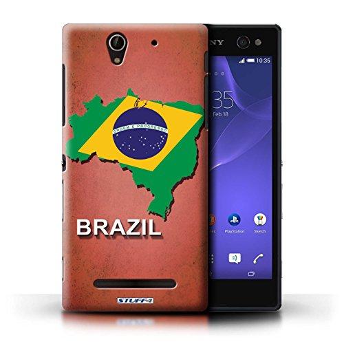 Kobalt® Imprimé Etui / Coque pour Sony Xperia C3 / Suisse/Swiss conception / Série Drapeau Pays Brésil