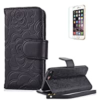 For iPhone 7 Case 4.7inch Cover [with Free Screen Protector], Funyye Elegant Premium Folio PU Leather Wallet Magnetic Flip Cover with [snap fastener] and [Credit Card Holder Slots] Stand Function Book Type Stylish Rose Printting Designs Full Protection Holster Case Cover Skin Shell for iPhone 7- Bla