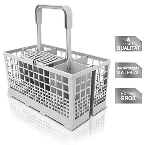 STRACKS Besteckkorb für alle Spülmaschinen mit 60cm Breite [24x13,5x23,5 cm] - Inklusive 8 Unterkorbrollen für ihren Geschirrspüler