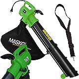 MASKO Laubsauger 3 in 1 Elektro Laubbläser 3000W mit Schultergurt und Rollen Fangsack 45L Gebläse Häcksler Gartensauger Gartenbläser Blasgerät Farbe Grün