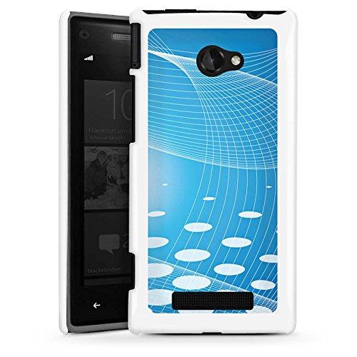 DeinDesign HTC Windows Phone 8X Hülle Schutz Hard Case Cover Punkte Streifen Blau