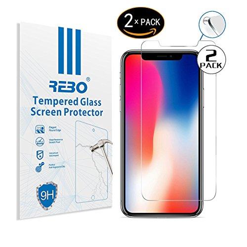 Apple iPhone X Protector cristal templado - RE3O® 2 x Protector de pantalla cristal templado vidrio templado para Apple iPhone X 5,8'' pulgadas, Fácil de instalar y sin burbujas de aire, Borde redondo elegante 2,5D, Dureza 9H, Alta transparencia