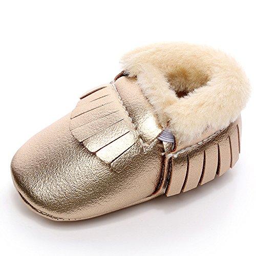Hunpta Baby Schneestiefel weiche Sohle weiche Krippe Schuhe Kleinkind Stiefel (Alter: 12 ~ 18 Monate, Gelb) Gold