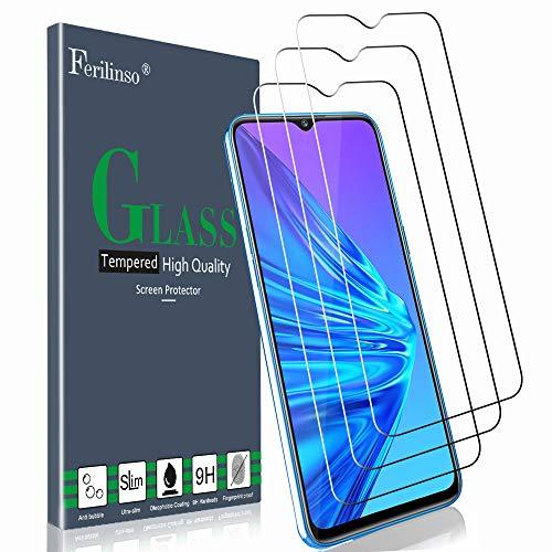Ferilinso Verre Trempé pour Realme 5 / Realme 5S Protection écran, [3 Pièces] Protection écran Glass Screen Protector Vitre Tempered pour Realme 5 / Realme 5S