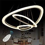 Vi-xixi LED Pendelleuchte Moderne Acryl Kronleuchter Höhenverstellbare Drei Ringe Pendellampe Hängeleuchte Dimmbar Hängelampe, 3 Farben Weißes Licht + Warme Licht + Natürliche Licht