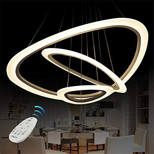Vi-xixi LED Pendelleuchte Moderne Acryl Kronleuchter Kreative Höhenverstellbare Drei Dreieck Ringe Pendellampe Hängeleuchte Hängelamp für Schlafzimmer Wohnzimmer Küche (64cm)