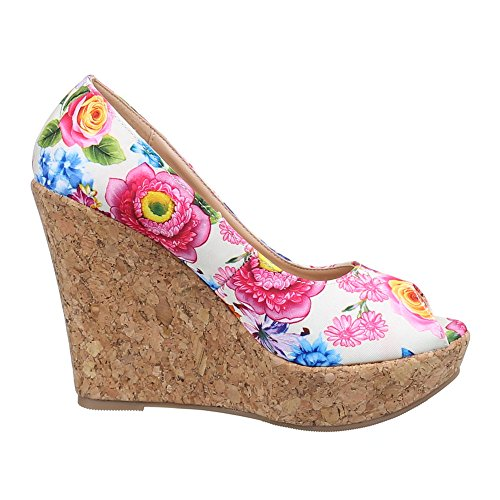 ... Damen Schuhe, 1362-KL, PUMPS KEIL WEDGES PEEP TOE Beige Multi