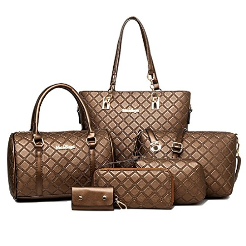HT Women Handbag Set, Poschette giorno donna Brown