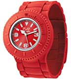 ODM Flip Unisex Quartz Watch with Red Dial Analogue Display and Red Silicone Strap JC02-02