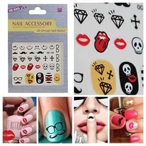 [Envoi GRATUIT 7~12 jours] serie drôle Sticker Moustache Geek Nail Art Stickers // Funny Series Sticker Moustache Geek Nail Art Decals