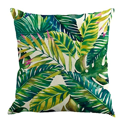 Watopi - Federa per Cuscino, Motivo: Piante Verdi, Motivo a Righe tropidcal, Colore: Verde, 45 x 45 cm A