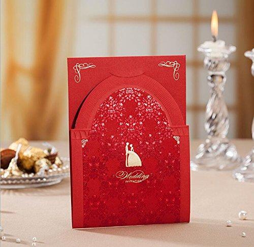wishmade rot Laser Schnitt Hochzeit Einladungen tonkartons Kit für Ehe Floral Verlobungsring Hochzeit lädt Karten, mit Strass Brautschmuck Dusche mit Umschlägen und Gastgeschenken Dichtungen (20Stück)