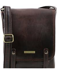 Tuscany Leather - Roby - Sac pour homme en cuir avec boucles - Marron foncé