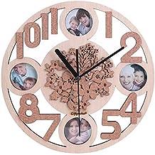 Giftgarden Orologio da Parete in Legno con 4 Cornici 5x5 cm Ornamento per Casa