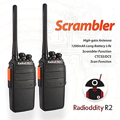 Radioddity R2 PMR Two Way Radio with 16 Channels, 96 Hours Super Long Standby VOX Scrambler, 1200mAh Li-ion Battery Granular Sensation Walkie Talkie (Pack of 2)