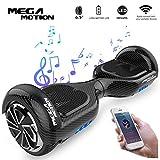 Mega Motion Self Balance Scooter E1 - Gyropode électrique 6.5' -Bluetooth - sécurisé UL CE (Black-Carbon)