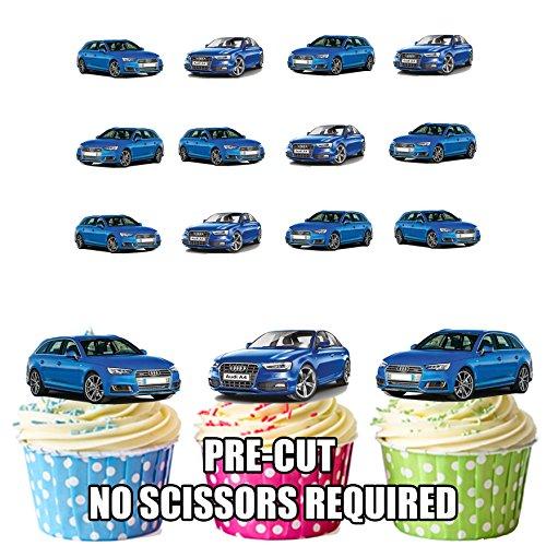 prédécoupés Bleu Audi Avants- comestible pour cupcakes/gâteau Décorations (lot de 12)