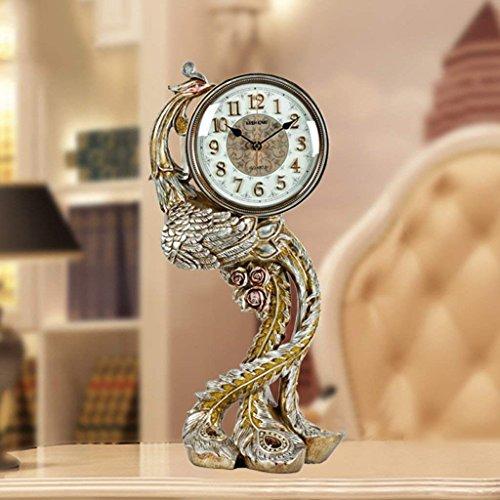 GZ Tischuhr Europäischen Pfau Uhr Wohnzimmer Phoenix Retro Uhr Moderne Kreative Uhr Einfache Große Stille Uhr,AAA
