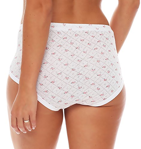 4er Pack Damen Slips aus Baumwolle (weiß / geblümt) Nr. 420 ( Modell 1 (Jaquard) / 56/58 ) - 7