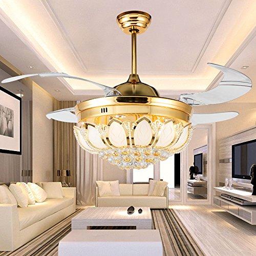 sdkky LED-Ventilator unsichtbar, Deckenventilator, Esszimmer Kristall-Kronleuchter, American Style Kristall-Kronleuchter, Deckenventilator Lampe