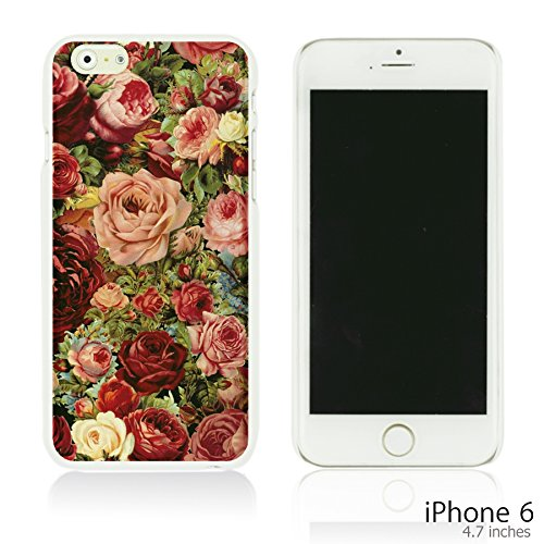 OBiDi - Fabric Pattern Hard Back Case / Housse pour Apple iPhone 6 / 6S (4.7 inch)Smartphone - Pink Boho Pattern Vintage Roses Painting