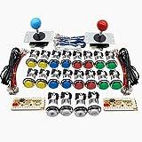 Fransande Arcade DIY Kit USB Encoder Joystick Chip LED-knapp för 1 och 2 spelare USB till PC/Raspberry Pi/KOF/SNK
