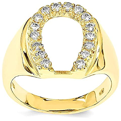 IceCarats 14k Yellow Gold Diamond Mens Horse Shoe
