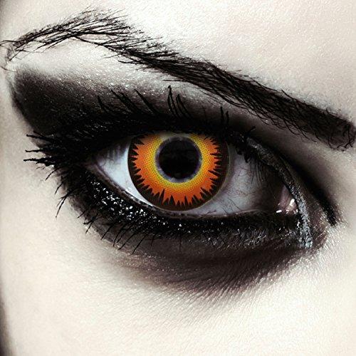 """Lentillas de colores naranjas para Halloween hombre-lobo costume lentes de tres meses sin dioprtías / corregir + gratis caso de lente """"Orange Werewolf"""""""
