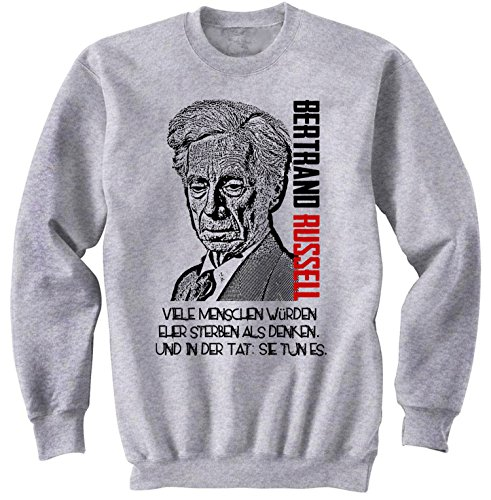 Teesquare1st Men's BERTRAND RUSSELL Viele Menschen Grey Sweatshirt