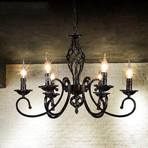 Luci di soffitto loft retro stile industriale ristorante soggiorno lampadario in ferro battuto bar caffetteria americano sei lampadari lampadario in legno
