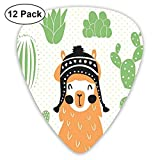 Guitar Picks 12-Pack,Llama In A Traditional Ethnic Bolivian Hat Smiling Comic On Polka Dots Illustration