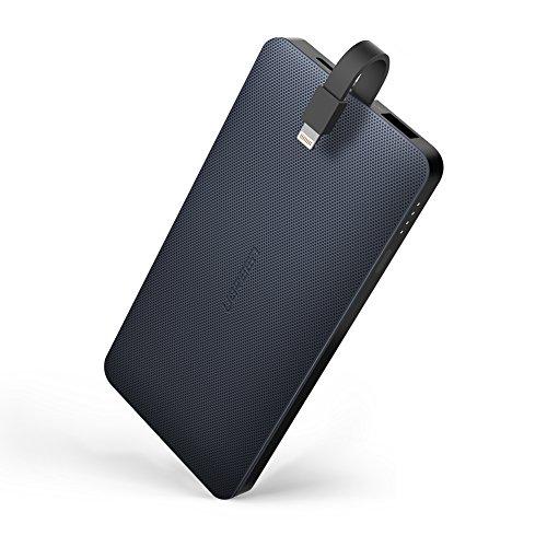 UGREEN Powerbank Externer Akku mit integriertem MFI Lightning Kabel und 2.4A USB Port Tragbares Ladegerät 10000mAh für iPhone X/8/8 Plus/7/6/SE, iPad Pro,iPad Air,Samsung S8,S7,S6,J3 2017,MP3/4 und Navi usw