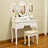 Quieting White Dressing Table Makeup Desk With Stool and Mirror Wooden Shabby Chic Makeup Desk Set