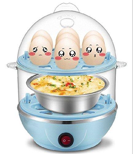 Vmore Multi-Function Electric 2 Layer Egg Boiler Cooker & Steamer (Blue)