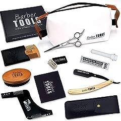 Idea Regalo - ✮ BARBER TOOLS ✮ Kit/Set/Cofanetto per la cura e manutenzione della barba e radersi