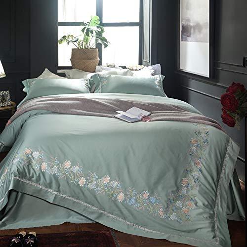 XULIM Bettwäschesatz von Vier Stickerei Bettwäsche Set ägyptischer Baumwolle Bettbezug flaches Blatt Kissenbezug Tröster Blumen Bett Set, König, 220 * 240cm -