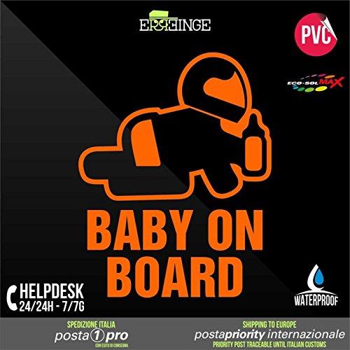 [ERREINGE] STICKER PRE-SPACED ORANGE FLUO 10cm - Baby on Board Bébé à Bord - Autocollant Decal Transfer Vinyle Muraux Laptop Voiture Moto Casque Scooter Camper