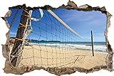 Stil.Zeit Rete di pallavolo sulla Parete svolta Spiaggia di Aspetto 3D, Parete o in Formato Adesivo Porta: 62x42cm, autoadesivi della Parete, Autoadesivo della Parete, Decorazione della Parete