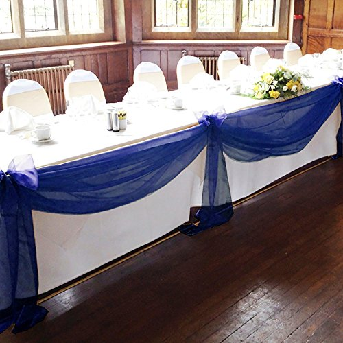 Navy wedding decorations amazon vlovelife navy blue 5m135m sheer organza swag fabric top table swag diy wedding car party stair bow valance decorations junglespirit Gallery