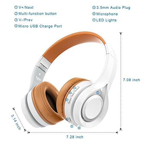 Bluetooth Kopfhörer, ELEGIANT Multifunktion Bluetooth 4.1 Wireless Stereo Headset Wiederaufladbare drahtlose Kopfhörer Ohrhörer Hohe Qualität On Ear Kopfhörer Freisprechfunktion + Mic/3,5mm Audio AUX Kompatibel mit Handys iPhone 7 6 6plus iPad Samsung HTC LG Laptops Tablets Smartphone und andere Bluetooth Geräte - 6